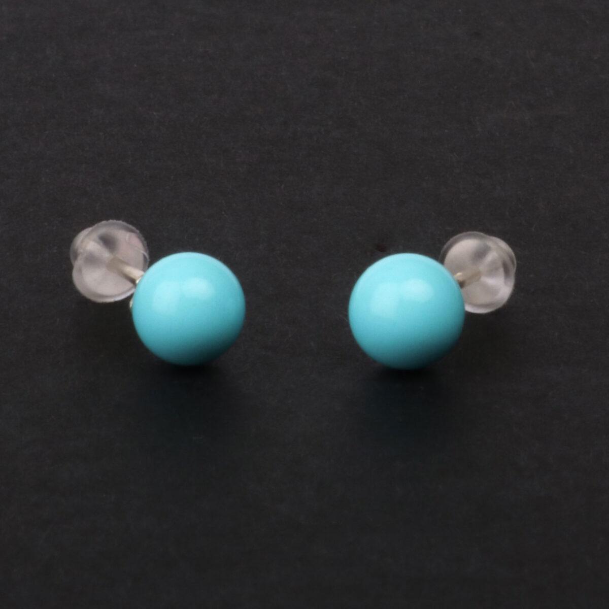 orecchini simple in argento e agglomerato di turchese